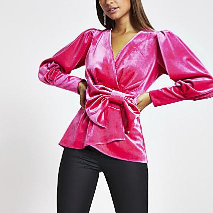 Pink velvet bow front blouse