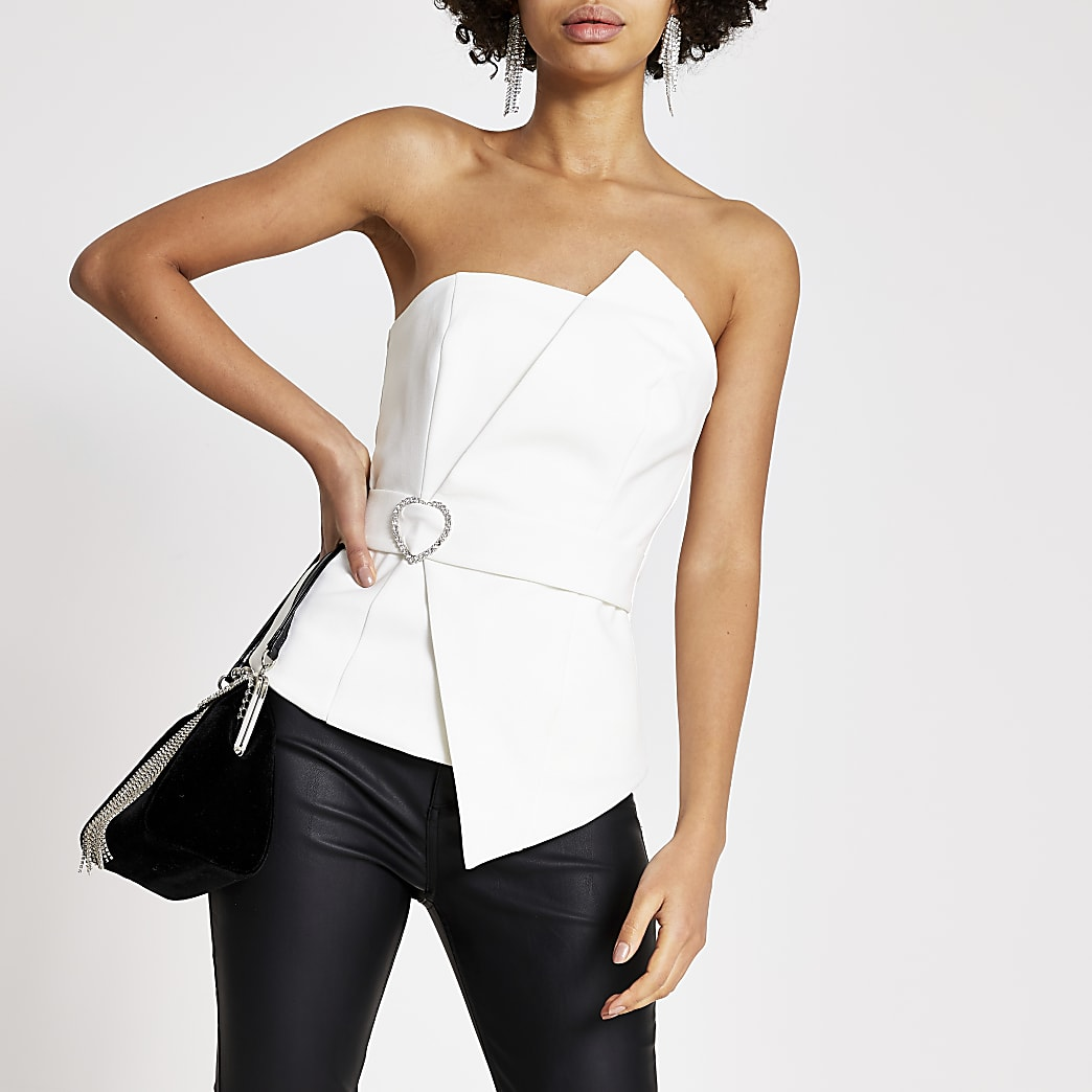 White diamante belted bandeau top
