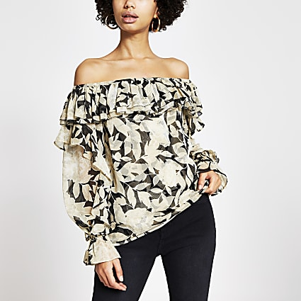 Black floral long sleeve bardot top