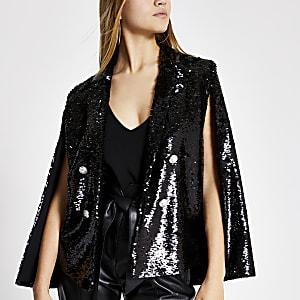 Blazer style cape noir boutonnéà sequins