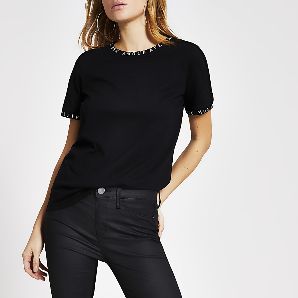 Black 'Amour' printed trim T-shirt