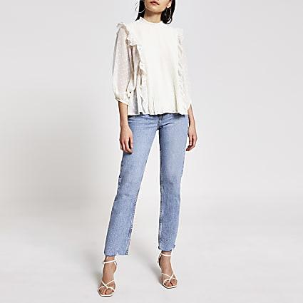 Cream pleated frill long sleeve blouse