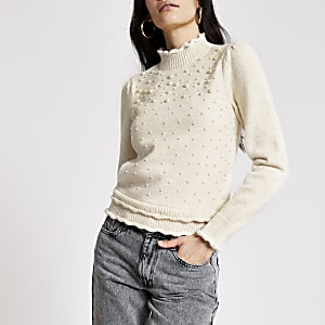 Cream pearl embellished puff sleeve jumper