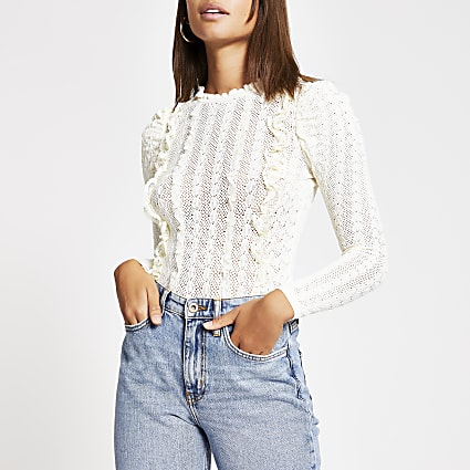 Ecru frill front puff sleeve knitted top