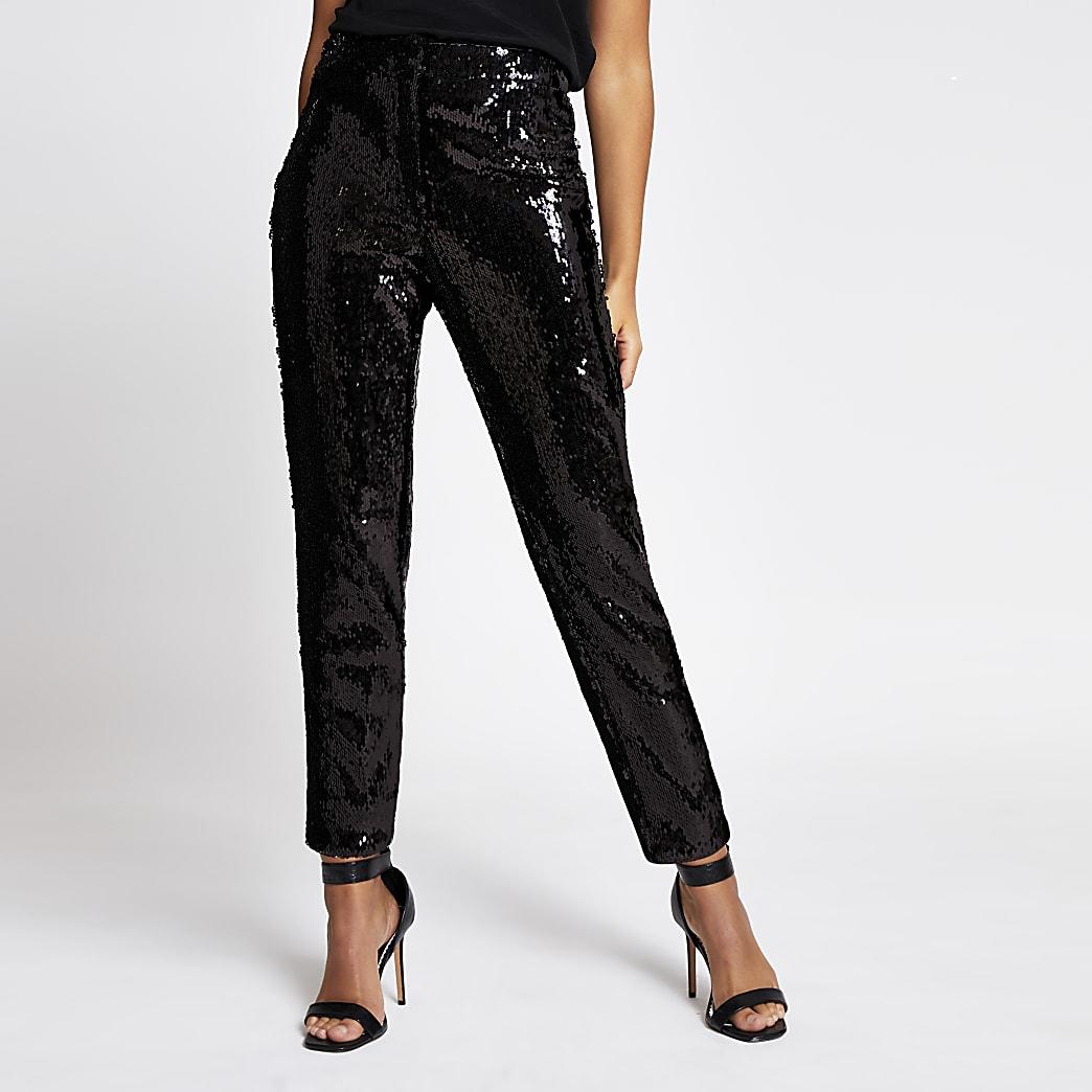 Pantalon cigarette noir à sequins taille haute