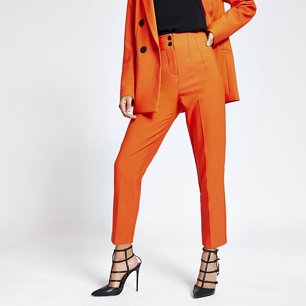Oranje smaltoelopende broek met hoge taille