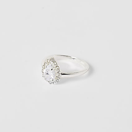 Silver teardrop diamante ring
