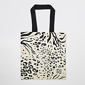 Beige animal printed canvas tote bag