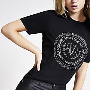 Zwart verfraaid boyfriend T-shirt