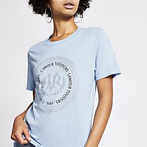 Blauw boyfriendT-shirt met RVR logo met siersteentjes