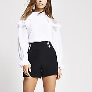 Petite – Schwarze, figurbetonte Shorts mit Knöpfen vorne