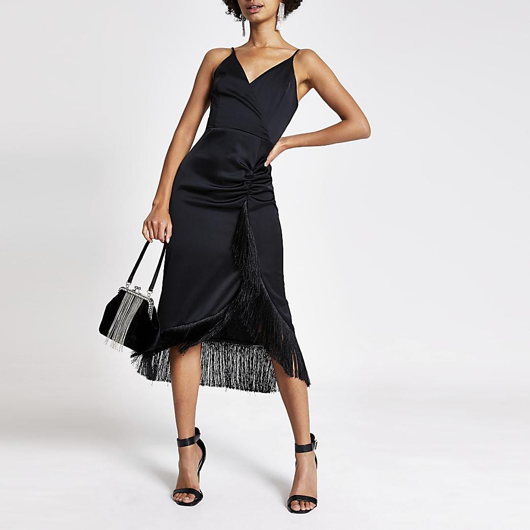 Black fringe wrap satin slip midi dress