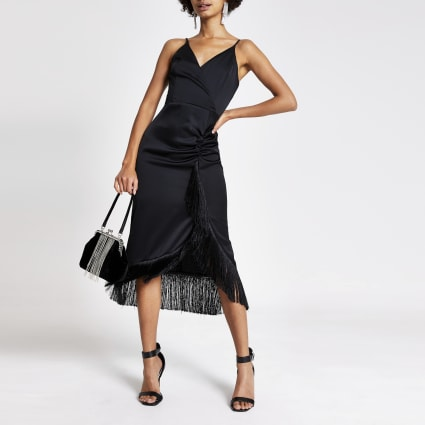 Black fringe wrap satin slip midi dress