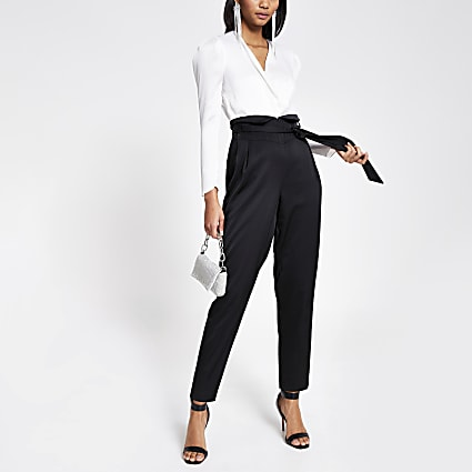 Black 2-in-1 wrap tie belted jumpsuit