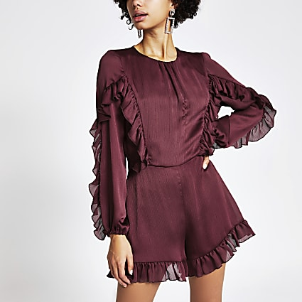 Red long sleeve ruffle satin playsuit
