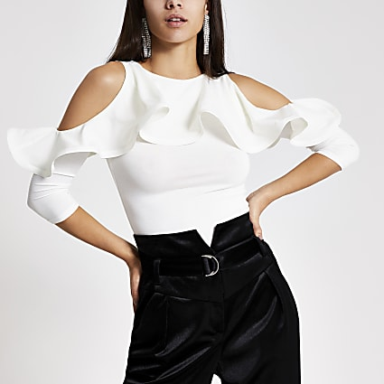 White cold shoulder long frill sleeve top