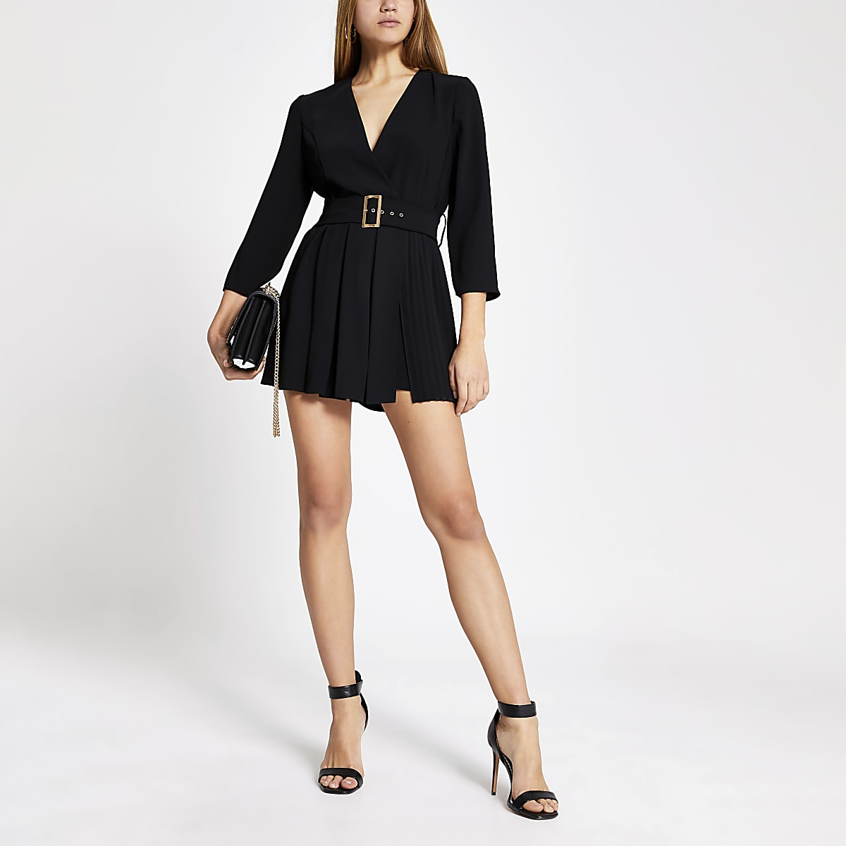 Black pleated long sleeve belted playsuit