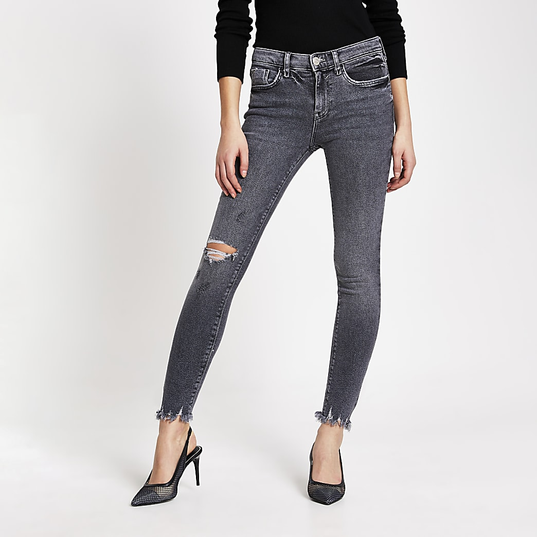 Grey ripped Amelie mid rise skinny jeans