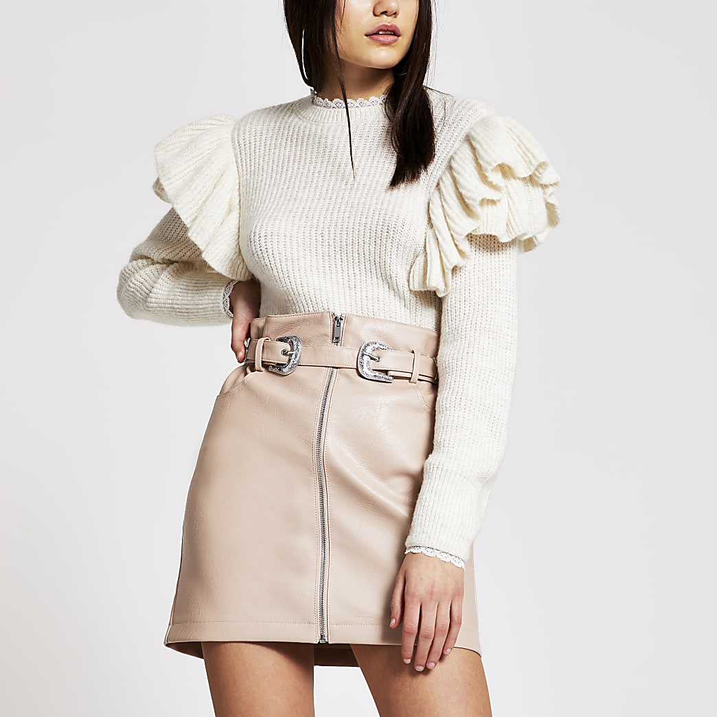 Pink faux leather zip front belted mini skirt