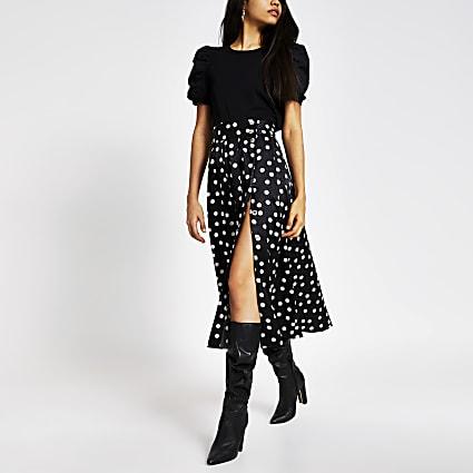 Black polka dot button front maxi skirt