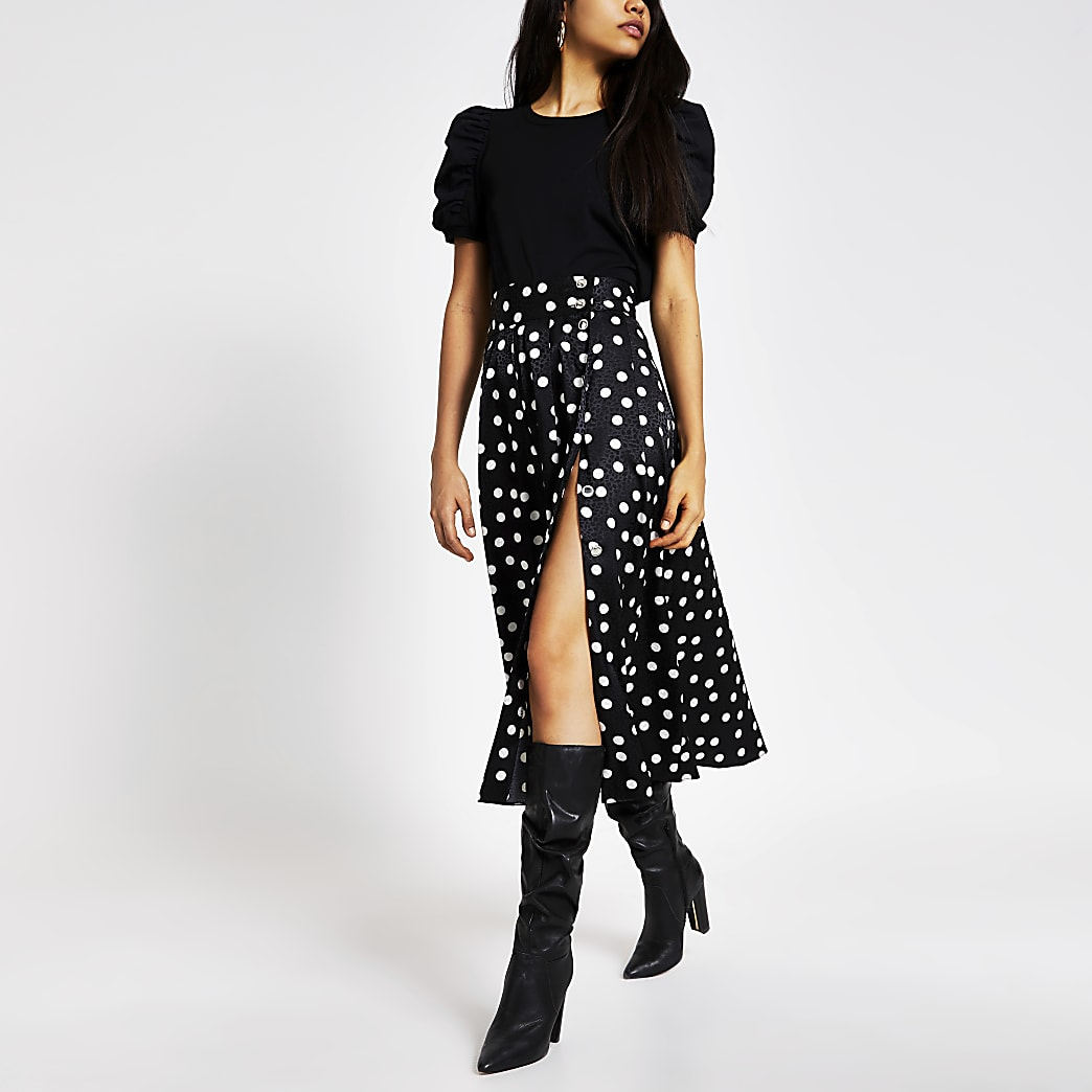 Black polka dot button front maxi skirt