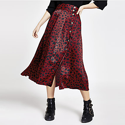 Red printed button front maxi skirt