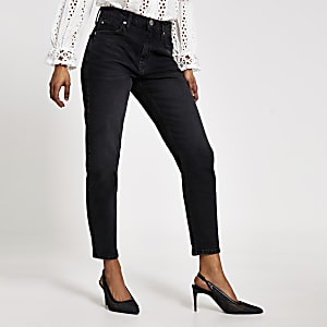 RI Petite - Brooke - Zwarte high rise smalle jeans