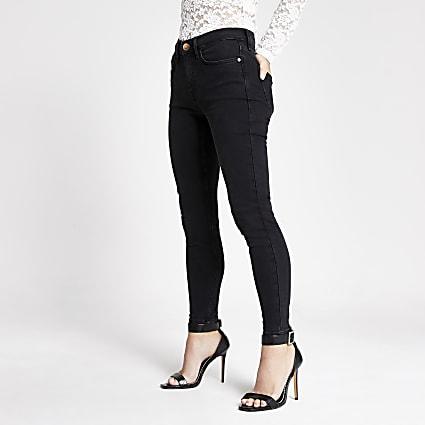 Petite black Amelie super skinny jeans