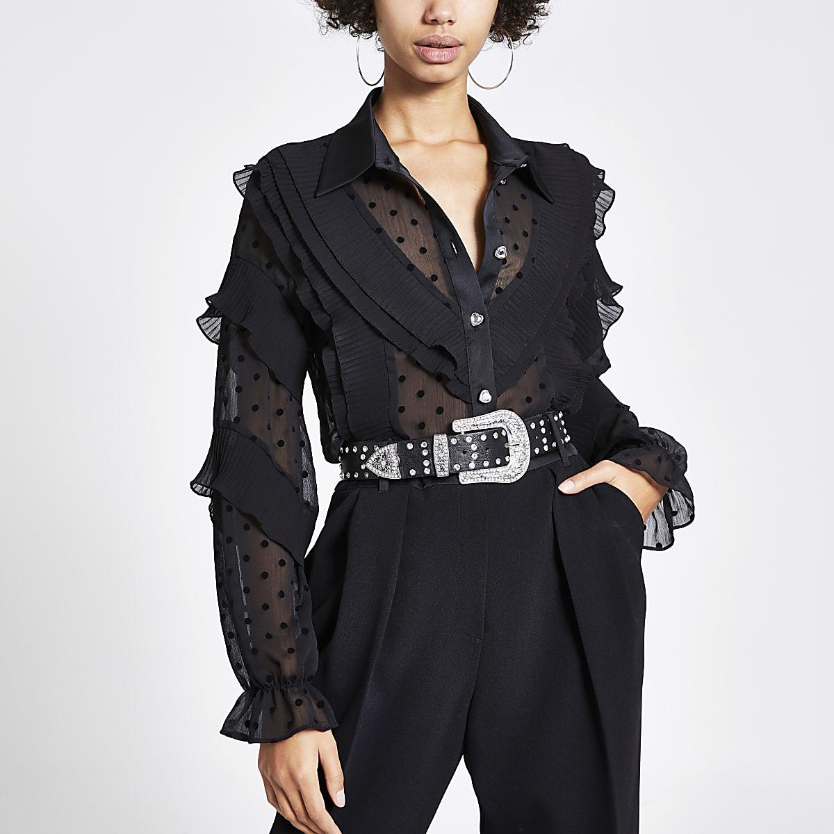 Zwart overhemd met stippen, ruches en lange mouwen