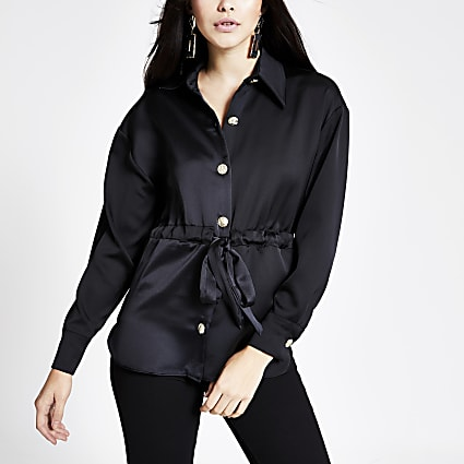 Black long sleeve tie waisted satin shirt