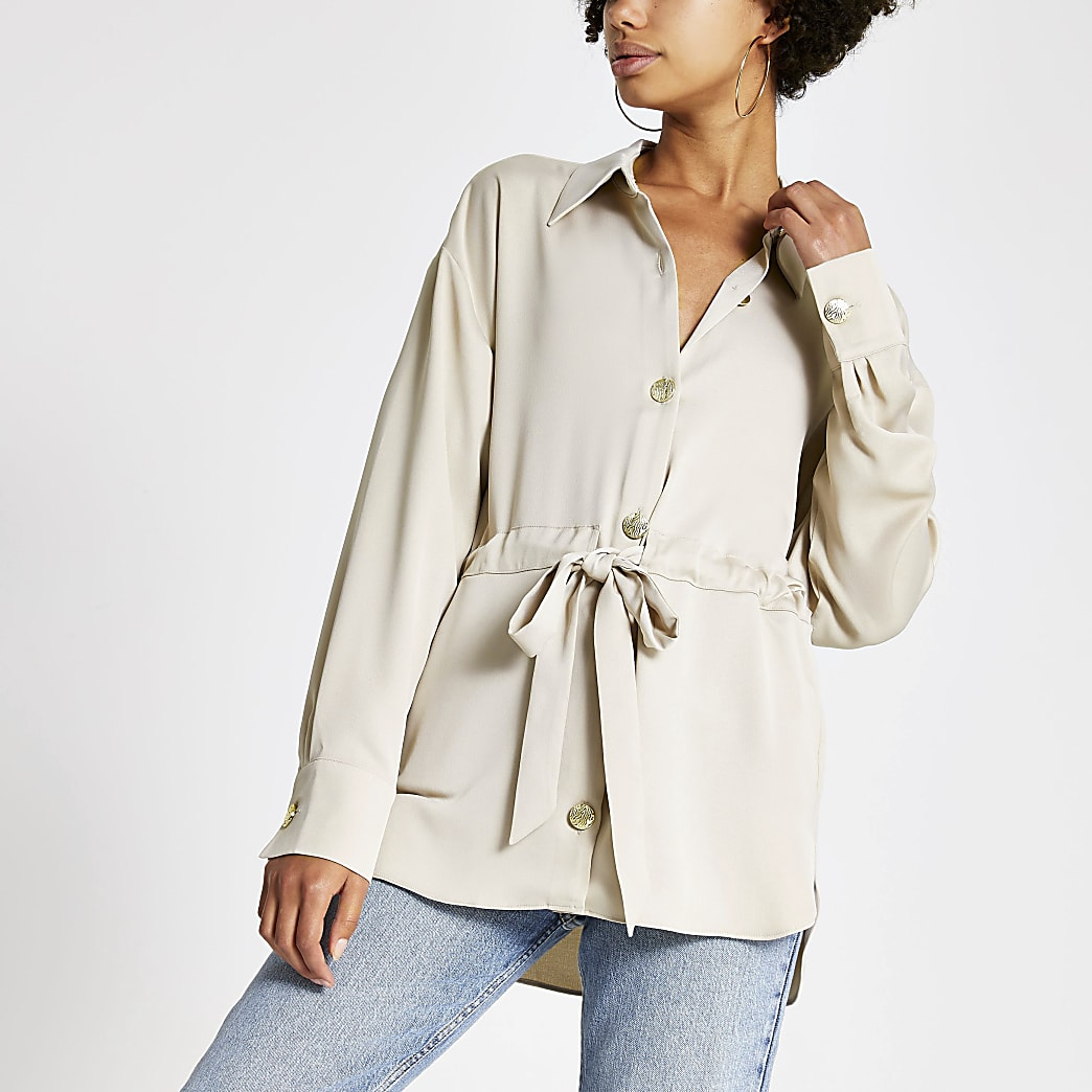 Stone satin tie waisted long sleeve shirt
