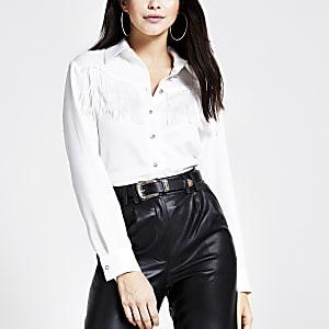 Wit Western overhemd met lange mouwen en franje