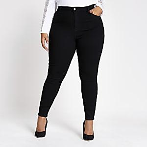Plus – Hailey – Schwarze Jeans mit hohem Bund