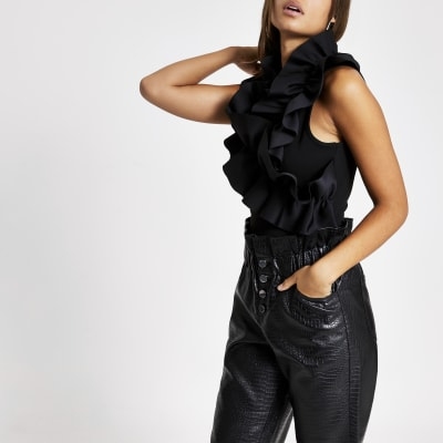 Black ruffle high neck sleeveless top