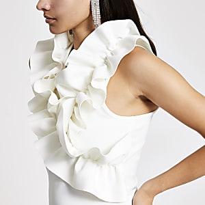 White ruffle high neck sleeveless top