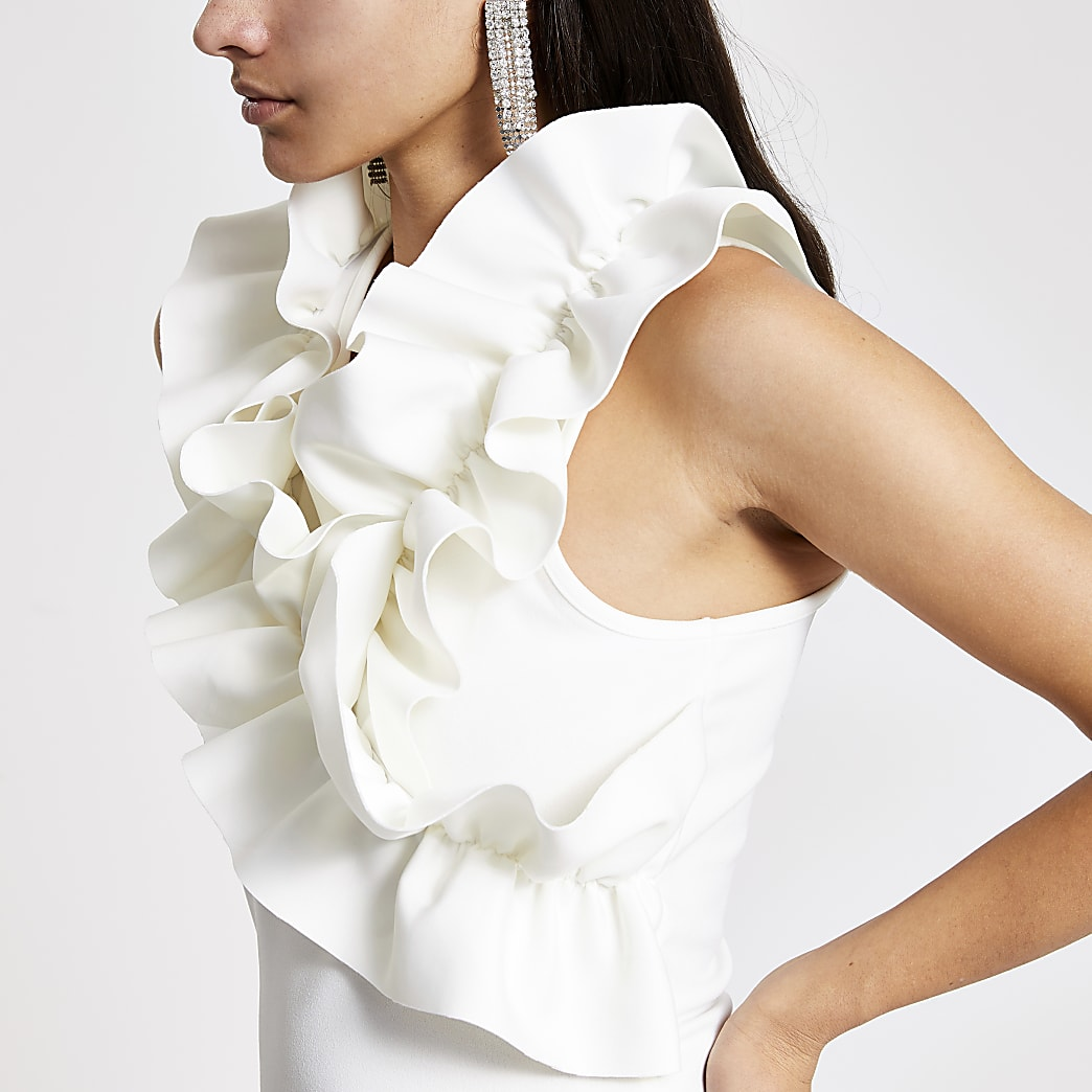 White ruffle high neck sleeveless top