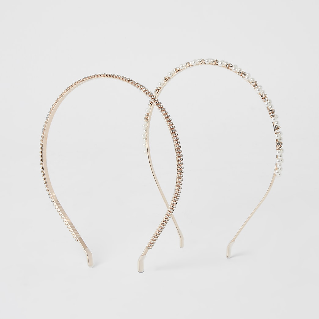 Rose gold embellished headband 2 pack