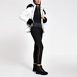 Leggings noir avec résille et ceintureà strass