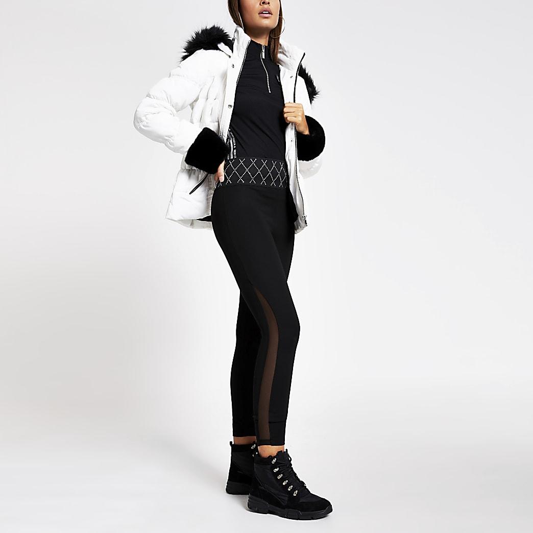 Zwarte mesh legging met siersteentjes rond taille