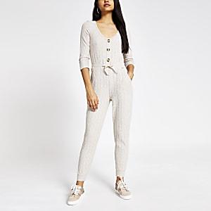 Crèmekleurige geribbelde pyjama-jumpsuit met lange mouwen