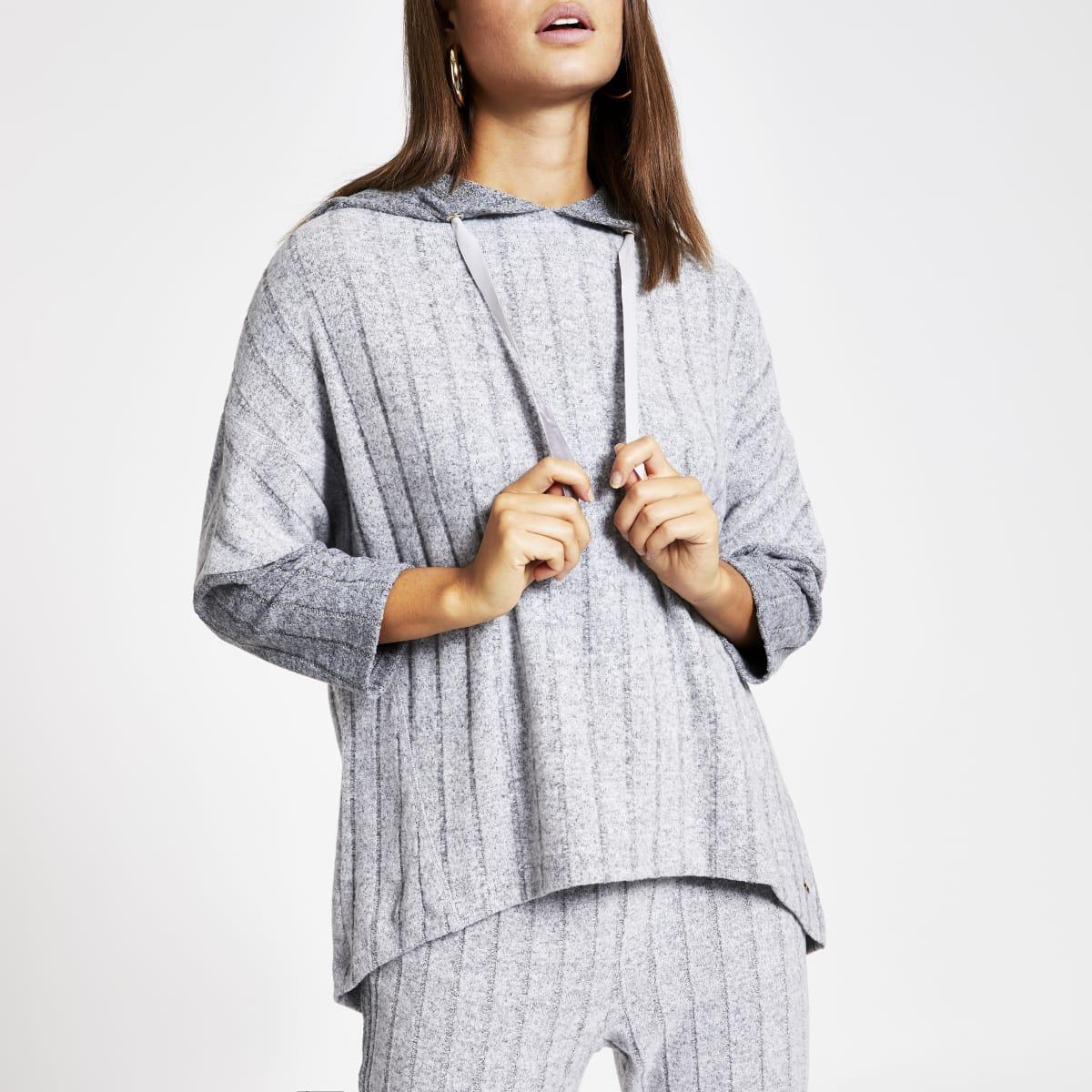 Sweat à capuche confort oversize côtelé gris