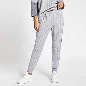 Gerippte Loungewear-Jogginghose in Grau