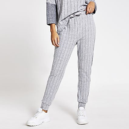 Grey ribbed loungewear joggers