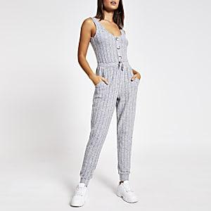 Gerippter Loungewear-Overall ohne Ärmel in Grau