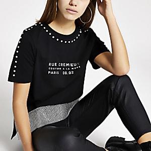 RI Petite - Zwart T-shirt met print en siersteentjes afwerking