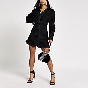 Petite – Robe chemise noireà pois et volants