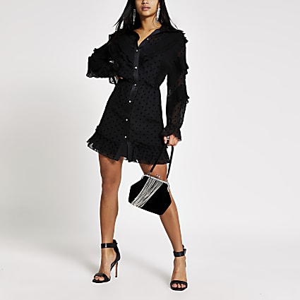 Petite black polka dot ruffle shirt dress