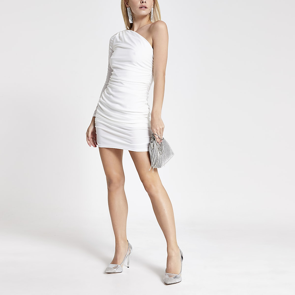 Petite white one shoulder ruched mini dress