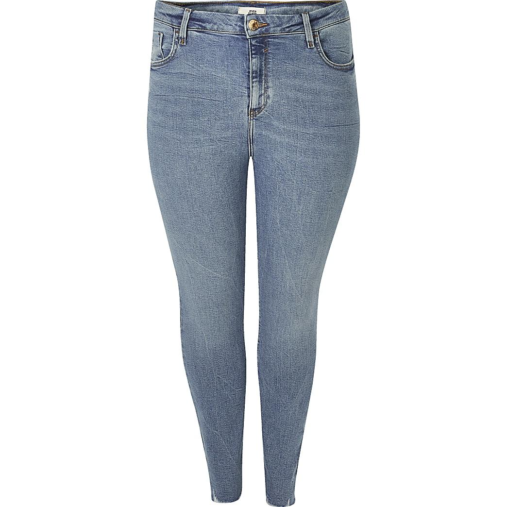 RI Plus - Blauwe Amelie super skinnyjeans