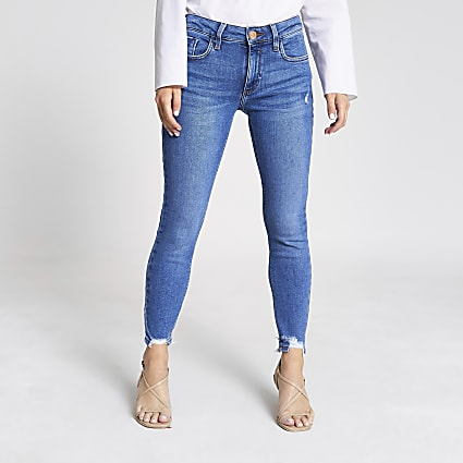 Petite blue Amelie mid rise skinny jeans